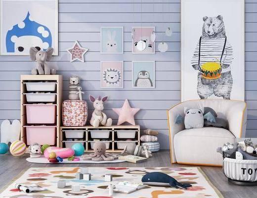 单椅, 墙饰, 装饰画, 置物柜, 玩具