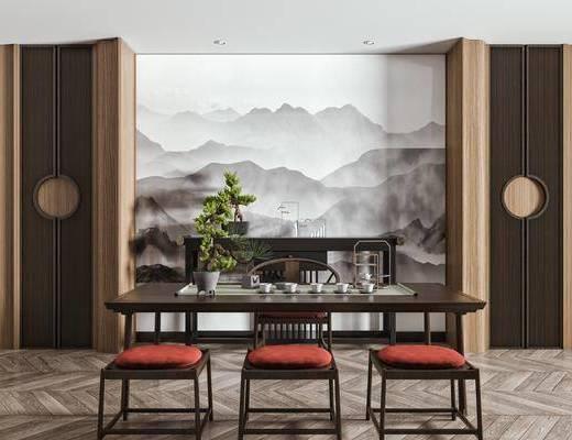 泡茶桌, 泡茶椅, 实木柜, 盆栽, 饰品摆件