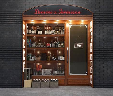 欧式实木酒水饮品橱窗店铺商展柜架, 欧式, 展示架, 酒瓶, 门