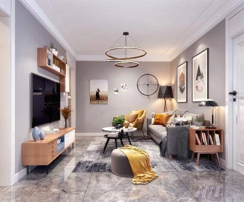 北欧, 客厅, 客餐厅, 多人沙发, 单人沙发, 茶几, 边柜, 台灯, 沙发凳, 电视柜, 挂画, 吊灯, 餐桌椅
