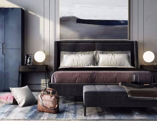 卧室, 床具组合, 双人床, 挂画