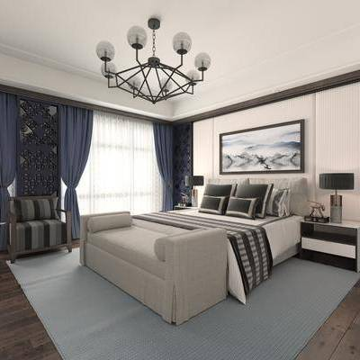 卧室, 床, 床头柜, 单人沙发, 床尾凳, 装饰画, 吊灯, 新中式, 中式