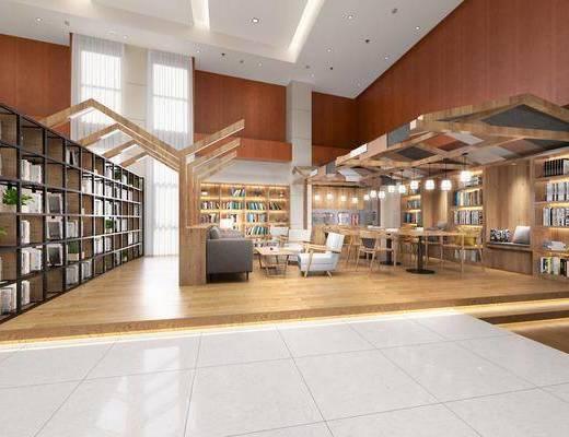 书吧书店, 书架, 装饰柜, 书籍, 多人沙发, 茶几, 单人沙发, 单人椅, 吊灯, 现代