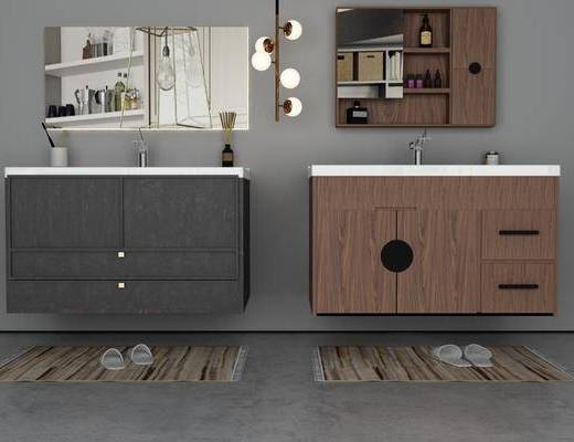 浴室柜, 装饰柜, 洗手台, 吊灯, 现代