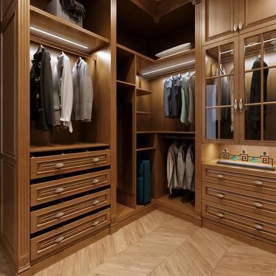 衣柜, 衣帽间, 简欧, 卧室, 服饰, 服装