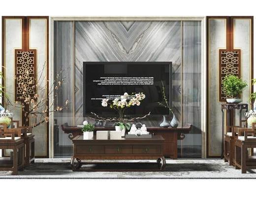 电视墙, 背景墙, 电视背景墙, 椅子, 盆景, 植物, 茶几, 电视柜, 中式, 新中式