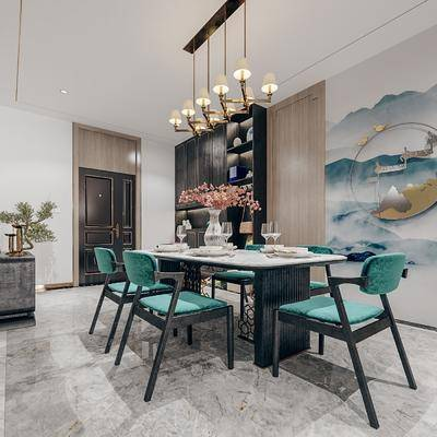 桌椅组合, 吊灯, 背景墙, 盆栽植物, 装饰柜