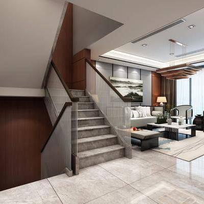 客厅, 餐厅, 电视柜, 绿植, 多人沙发, 单人沙发, 茶几, 沙发凳, 摆件, 酒柜, 餐桌, 餐椅, 装饰画, 边柜, 装饰柜, 后现代