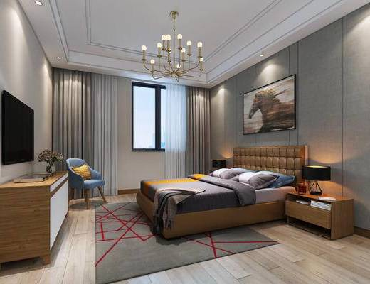 现代, 卧室, 北欧, 现代卧室, 床, 床头柜