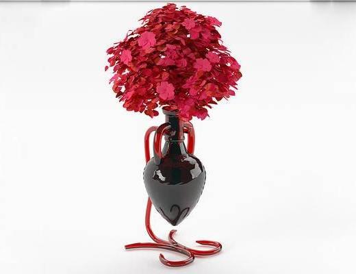 现代简约, 花瓶, 鲜花