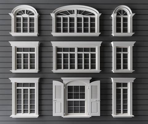 窗, 欧式窗, 简欧, 窗构件, 构件