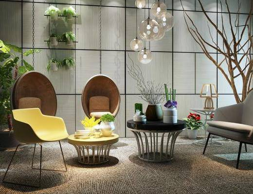 单人椅, 单人沙发, 茶几, 吊灯, 盆栽, 干树枝, 摆件, 装饰品, 陈设品, 休闲椅子, 组合架, 现代