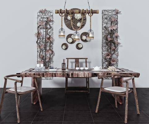 茶具, 根雕茶桌, 吊灯, 墙饰, 装饰品
