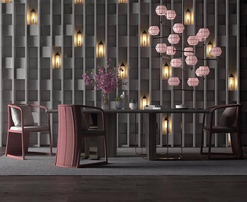 餐桌椅组合, 餐桌, 餐椅, 单人椅, 装饰品, 陈设品, 新中式