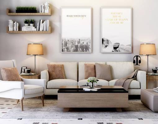沙发组合, 沙发茶几组合, 多人沙发, 单人沙发, 茶几, 边几, 装饰画, 挂画, 台灯, 装饰柜