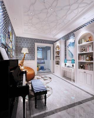 多功能区, 钢琴, 钢琴房, 懒人沙发, 现代多功能区, 现代