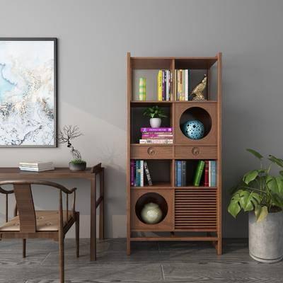 书柜, 书籍, 书桌, 单人椅, 盆栽, 绿植植物, 装饰画, 挂画, 摆件, 装饰品, 陈设品, 中式