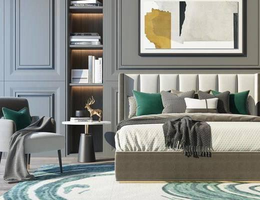 床具组合, 双人床, 床头柜, 单人沙发, 装饰画, 挂画, 现代轻奢