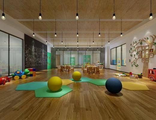 幼儿园, 玩具, 装饰画, 挂画, 照片墙, 吊灯, 桌子, 凳子, 单人椅, 现代