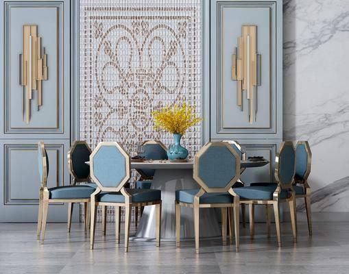 后现代餐桌椅, 后现代, 餐桌椅, 椅子, 壁灯, 餐桌, 花瓶