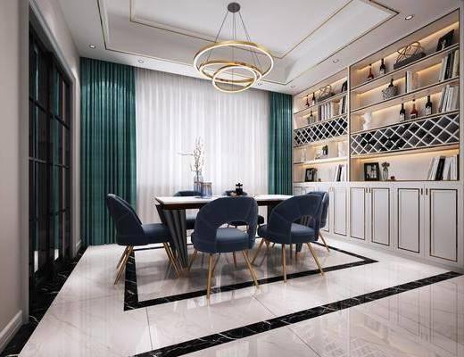 客餐厅, 客厅, 餐厅, 沙发组合, 沙发茶几组合, 边柜组合, 摆件组合, 盆栽, 绿植植物, 挂画组合, 餐桌椅组合, 北欧