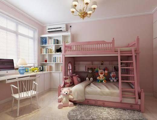 儿童房, 上下床, 玩偶, 书桌, 单人椅, 电脑, 书柜, 书籍, 台灯, 吊灯, 地毯, 现代