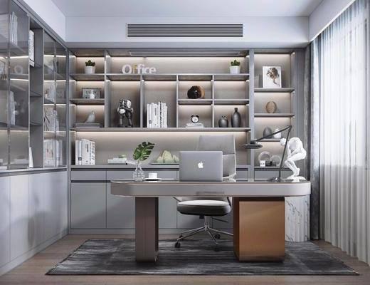 书柜, 办公桌, 椅子, 灯具, 装饰品, 摆件