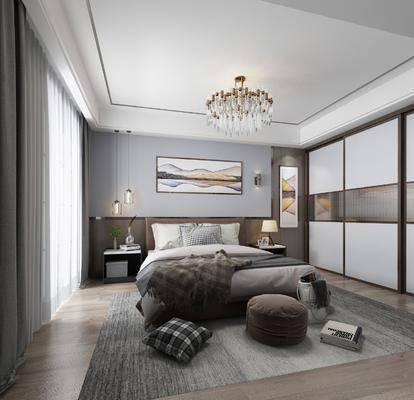 卧室, 双人床, 床头柜, 吊灯, 装饰画, 挂画, 衣柜, 装饰柜, 壁灯, 台灯, 电视柜, 边柜, 衣架, 摆件, 装饰品, 陈设品, 现代