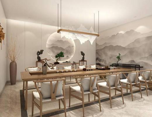 茶室, 茶桌, 单人椅, 吊灯, 茶具, 盆栽, 花瓶, 干树枝, 绿植, 新中式