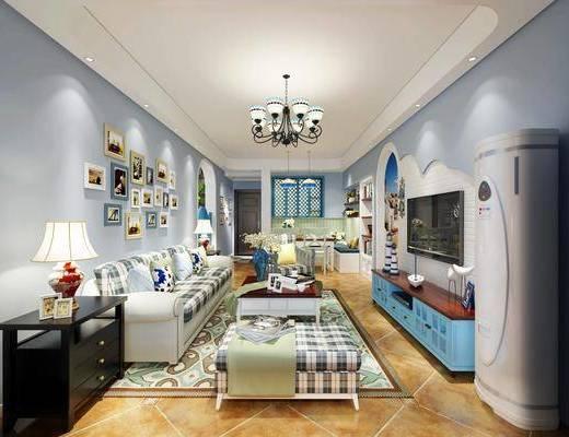 沙发组合, 装饰画, 吊灯, 电视柜, 茶几, 单椅
