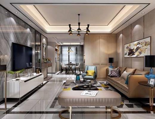 后现代客餐厅, 后现代, 客厅, 现代电视柜, 沙发, 现代吊灯