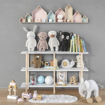 北欧儿童房, 装饰架, 毛绒玩具, 墙饰