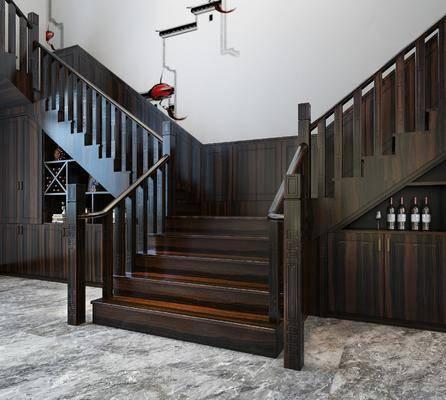 楼梯, 新中式楼梯, 酒柜, 置物柜, 新中式