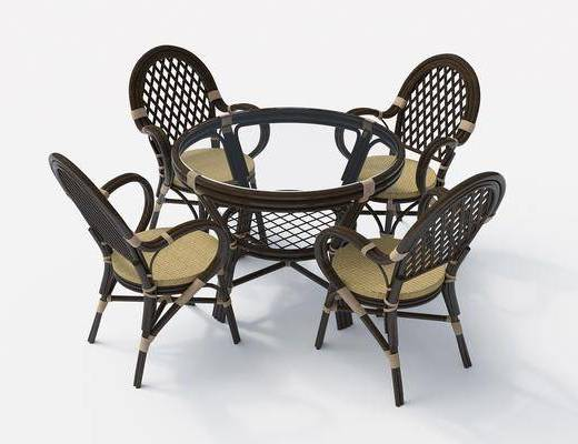 桌椅组合, 餐桌, 餐椅, 单人椅, 藤椅, 铁卓, 现代