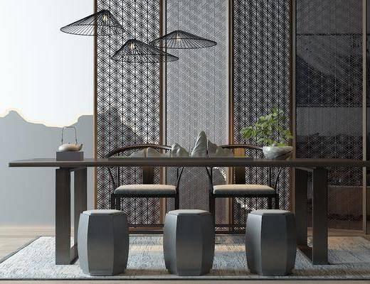 餐桌椅, 桌椅组合, 新中式餐桌椅组合