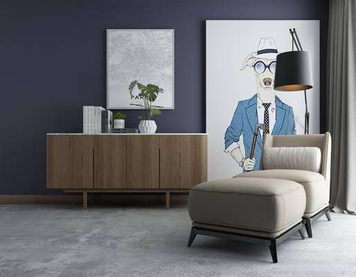 端景台, 摆件组合, 装饰画, 落地灯, 躺椅