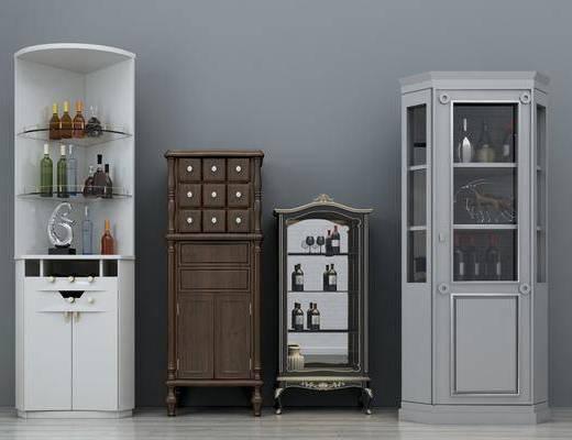餐边柜, 边柜, 装饰柜, 酒柜组合, 酒瓶, 欧式
