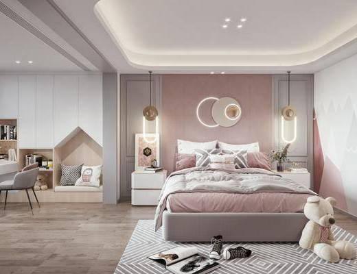 现代, 卧室, 墙饰, 地毯, 儿童床, 玩具, 床头柜