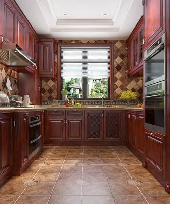 厨房, 橱柜, 厨具, 美式
