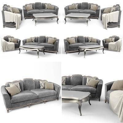 现代沙发, 布艺沙发, 沙发组合
