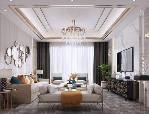 客厅, 多人沙发, 茶几, 躺椅, 边几, 台灯, 墙饰, 吊灯, 电视柜, 边柜, 单人沙发, 摆件, 装饰品, 陈设品, 后现代