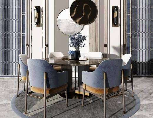 现代餐桌组合, 餐桌, 单椅, 壁灯