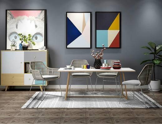 桌椅组合, 餐桌, 餐椅, 单人椅, 装饰画, 挂画, 边柜, 装饰柜, 盆栽, 餐具, 摆件, 装饰品, 陈设品, 北欧