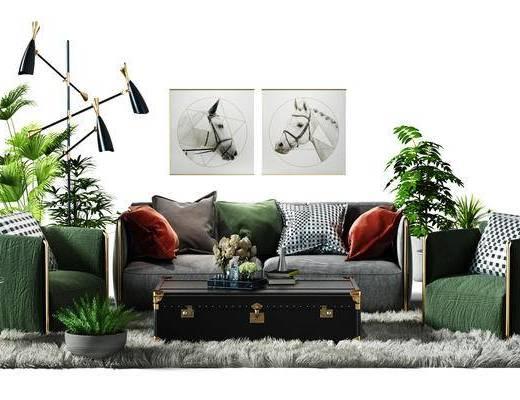 沙发椅, 椅子, 地毯, 盆景, 植物, 落地灯, 北欧, 沙发, 茶几