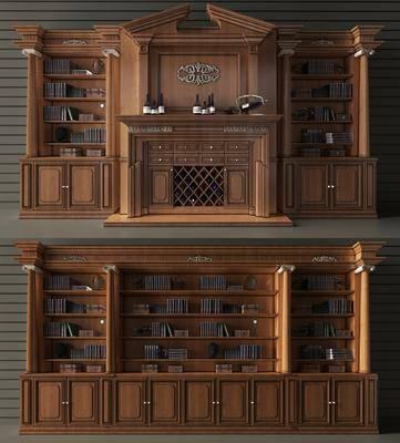 酒柜, 书柜, 红酒, 酒瓶, 书籍, 摆件, 壁炉, 欧式, 古典