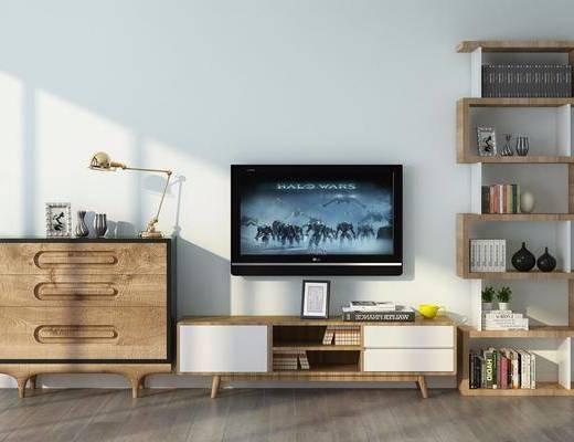电视柜, 边柜, 装饰柜, 装饰架, 书籍, 台灯, 装饰品, 陈设品, 现代