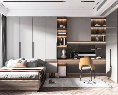 现代, 卧室, 榻榻米, 书桌, 单椅