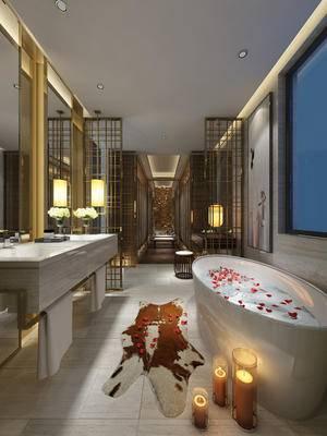 卫生间, 衣帽间, 洗手台, 镜子, 浴缸