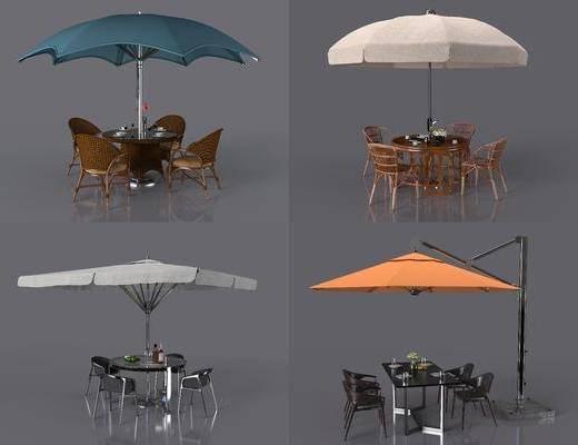 现代遮阳伞, 遮阳伞, 户外帐篷, 帐篷, 桌椅组合