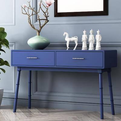 玄关桌, 边柜, 花瓶花卉, 摆件, 装饰品, 陈设品, 饰品模型, 美式